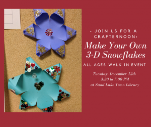 Sand Lake Town Library » Blog Archive » 3-D Snowflakes